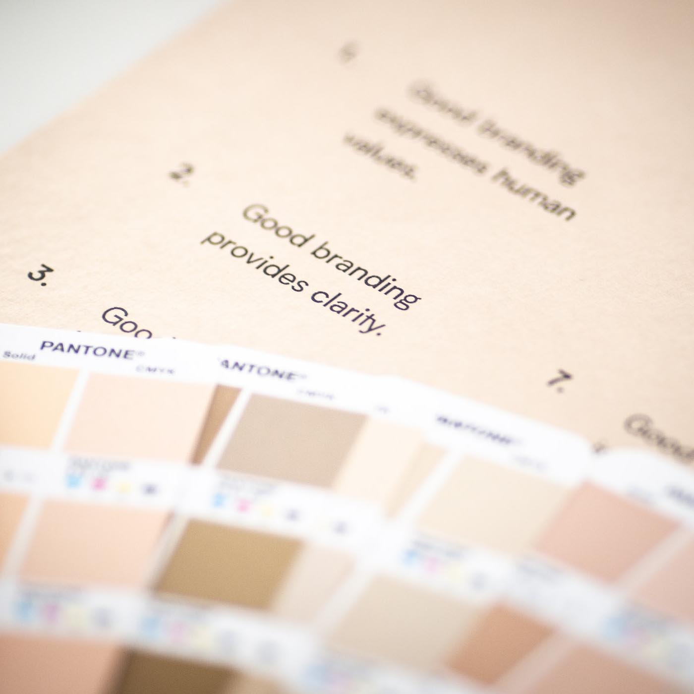 Brand Purist's branding principles printout with colour chart.