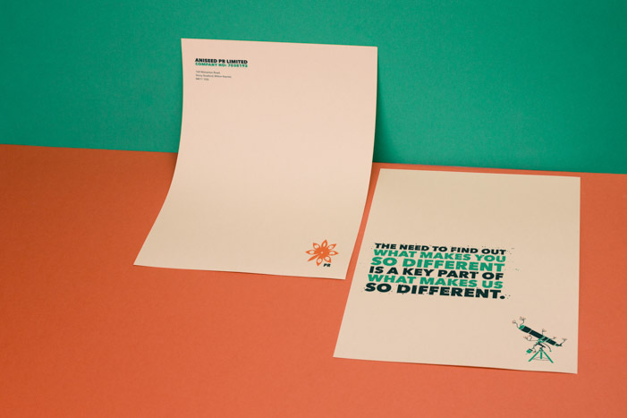 Printed letterhead design with aniseed illustrations and bold typography for AniseedPR.