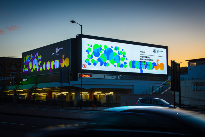 Bold geometric designs of the ico-D / icograda artwork displayed on a major London road by JCDecaux.