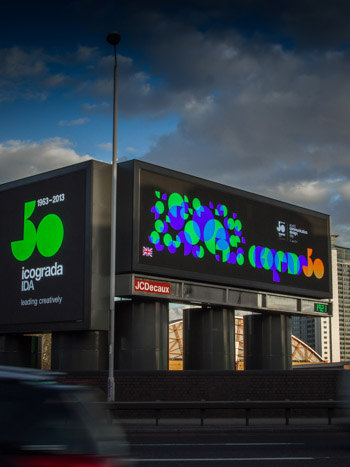 The ico-D / icograda artwork was displayed on multiple advertising spaces of JCDecaux along Cromwell Road.