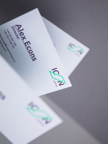 The ICON Printing business card front design incorporates simple, easily legible typography.