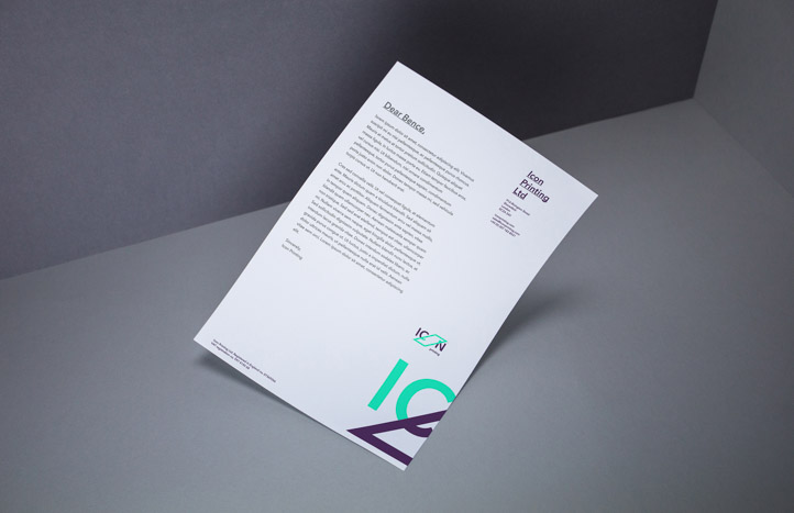 The letterhead and the rest of the stationery follows the same simplicity-driven design principles as the ICON Printing website.