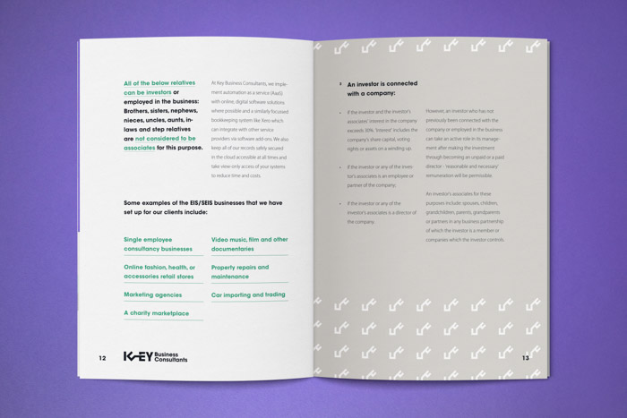 Pages decorated with the key logo mark within a simple typographic style and grid system.