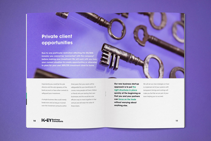 Private Client Opportunities section in the booklet with bold photography of antique keys.