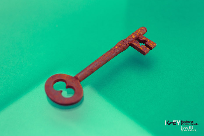 Rusted single antique key photographed against a vibrant green background.