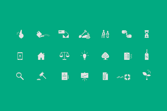 Iconography in a simple 2D style for Key Business Consultants.