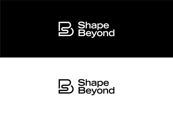 Shape Beyond logo design on plain black and white backgrounds.