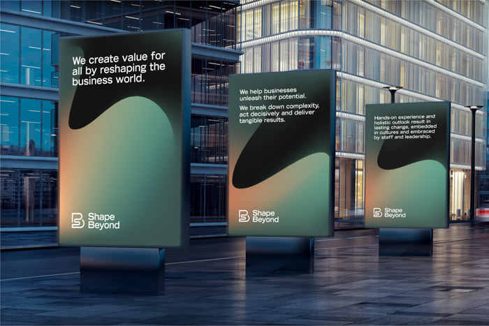 Poster designs showcasing the brand identity of business consultancy Shape Beyond.
