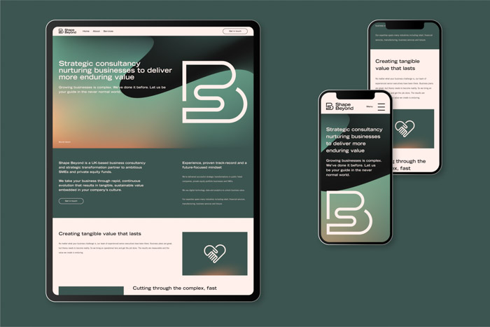 Shape Beyond's website design presented on a tablet and phones.