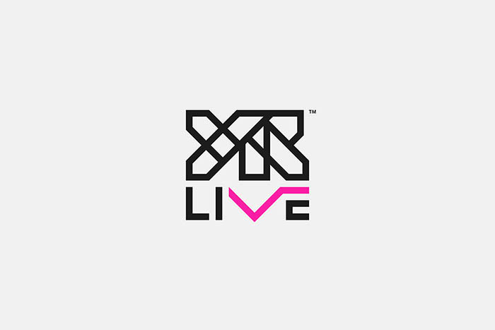 The LIVE type mark in the YR Live logo has a V shape resembling lines on a heart monitor to express excitement.