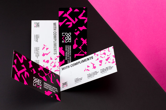 Screen printed YR Live comp slips with vibrant pink colours and structured, clean typography.