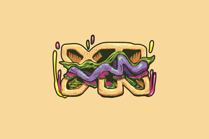 Krabby Patty version of the YR logo mark recreated in skateboard style KrustyPants illustration treatment.