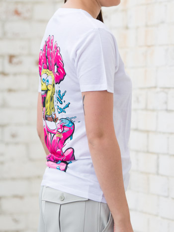 Side view of the YR Store x SpongeBob t-shirt with 'Mind like a sponge' artwork on its back.