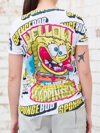 Back view of the YR Store x SpongeBob t-shirt with 'Yellow is the color of happiness' artwork.