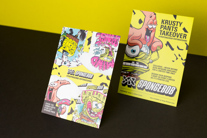 Flyers merging the styles of SpongeBob and YR Store designed for the collaboration.