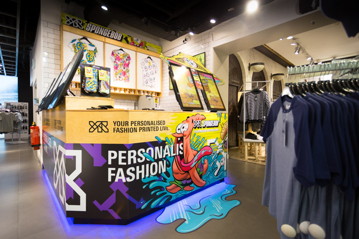 Photo of the YR Store installation at Topman showing the extent of the co-branding of the SpongeBob KrustyPants takeover.