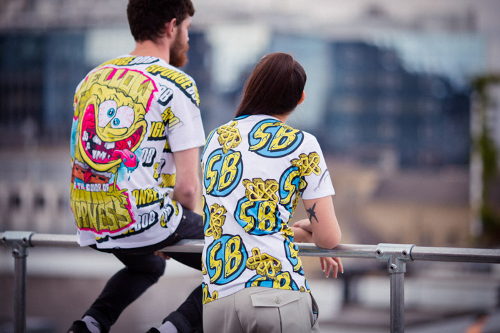 Fashion lookbook photo of two YR Store x SpongeBob t-shirts on a rooftop in Shoreditch.