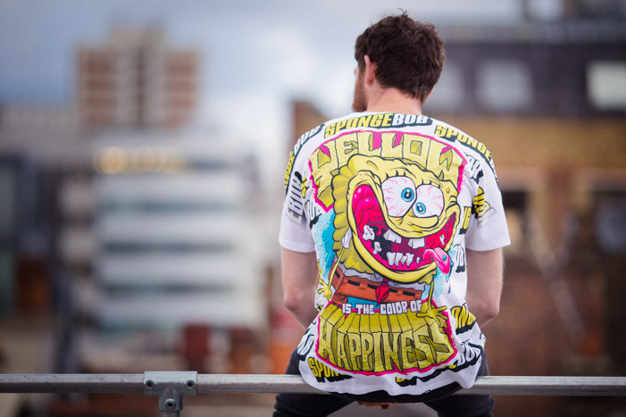 Back shot of the 'Yellow is the color of happiness' t-shirt for the YR Store x SpongeBob lookbook.