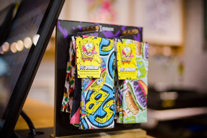 Socks on display with YR Store x SpongeBob artwork and hang tags at Topman.
