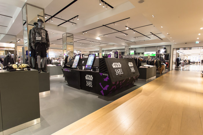 YR x Star Wars spaceship installation at Selfridges.