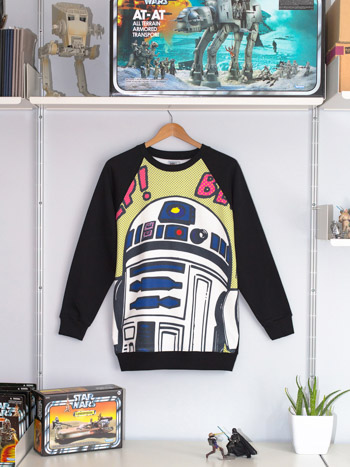 Dye-sublimation printed all-over R2-D2 artwork hanging on a Star Wars collector's wall.
